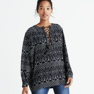 Madewell lace up peasant top caravan design medium